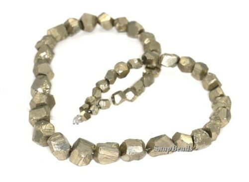 16MM-4MM PALAZZO IRON PYRITE GEMSTONE GRADUATED RUGGED NUGGET LOOSE BEADS 16/""