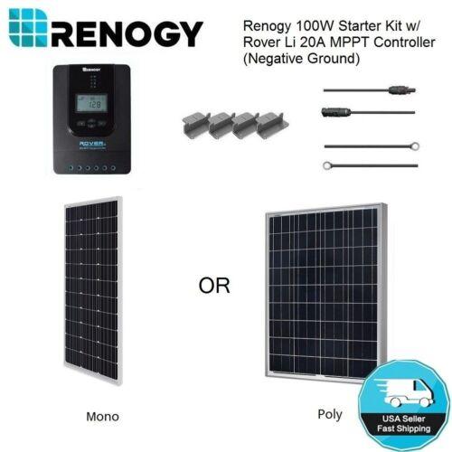 Renogy 100W 12V Solar Panel Starter Kit MPPT Controller Off Grid Battery Charger