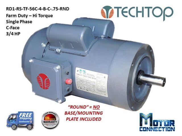 Techtop Farm Duty Single Phase Motor 3/4 HP 1800 RPM 56c