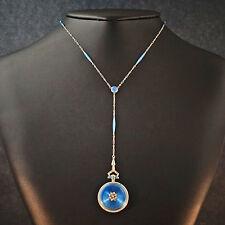 1904 Waltham 14K Gold Enamel & Diamond Pendant Watch w/ Original Enamel Necklace