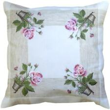 Kissenbezug PAULA 50x50 Landhaus Rosen vanillie rosa Blumen floral Shabby