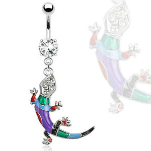 Surgical-Steel-Multi-Coloured-Epoxy-Lizard-with-Gems-Dangle-Belly-Bar-Navel-Ring