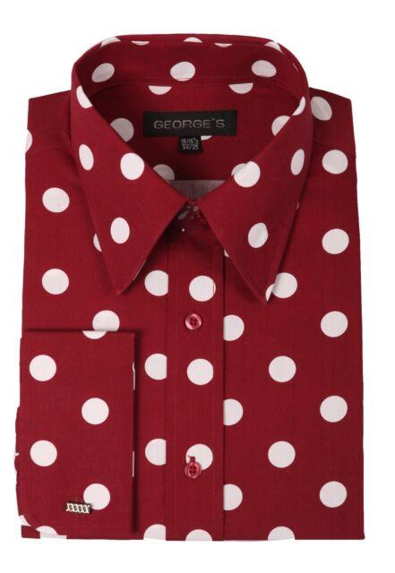 Men's Polka Dots Fashionable Cotton Dress Shirt #616 Black White & Burgundy