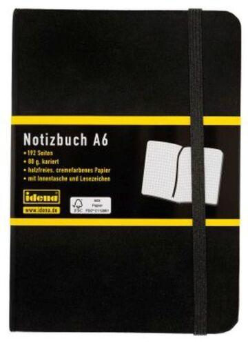 IDENA Notizbuch blanko  A4 A5 A6 A7 Kladde Memobuch Tagebuch Schwarz 192 Seiten