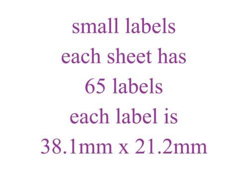65 Mixte Lapin Petit Collant Papier Blanc Autocollants Étiquettes Neuf