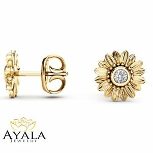 Details About Diamond Sunflower Gold Stud Earrings 14k Yellow Bridal Jewelry