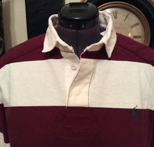 RALPH-LAUREN-POLO-MENS-RUGBY-SHIRT-WINE-AND-CREAM-STRIPES-SIZE-SMALL-RRP-115