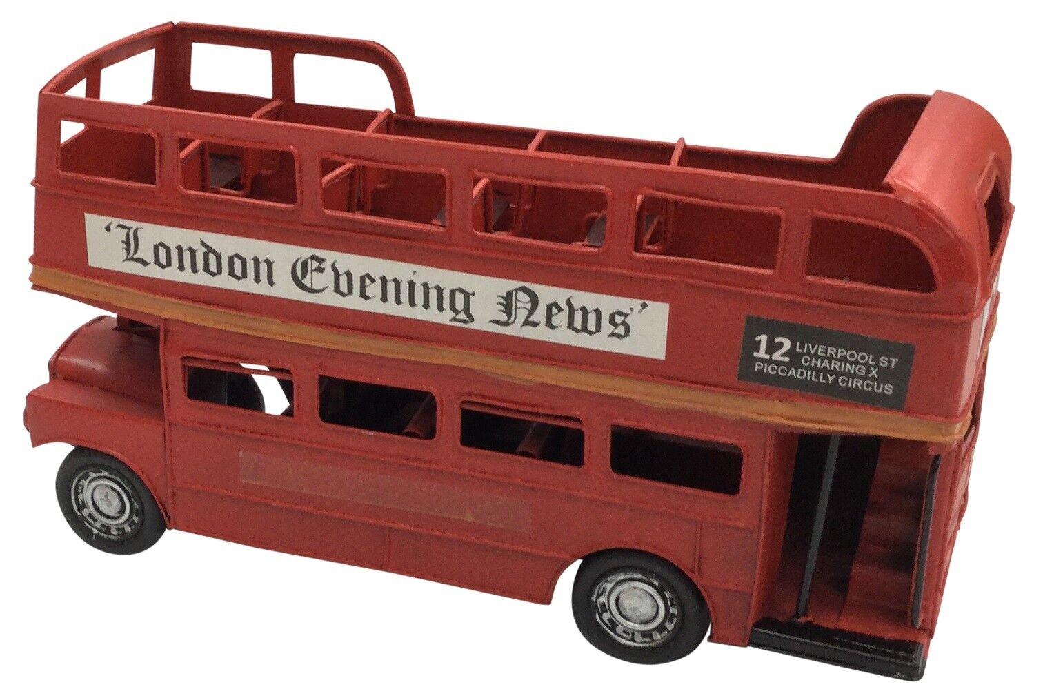 Classique Vintage Londres Rouge Bus Double Pont Boite Métal 31cm Longueur