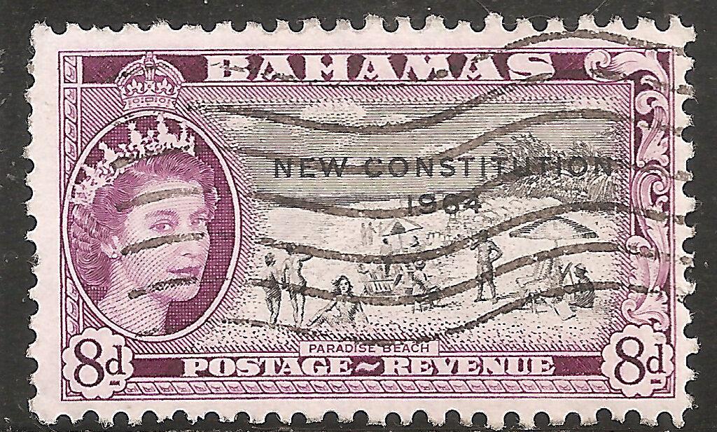 British CW Bahamas Stamp - Scott #193/A17 8p Rose Violet & Black Canc/LH 1964