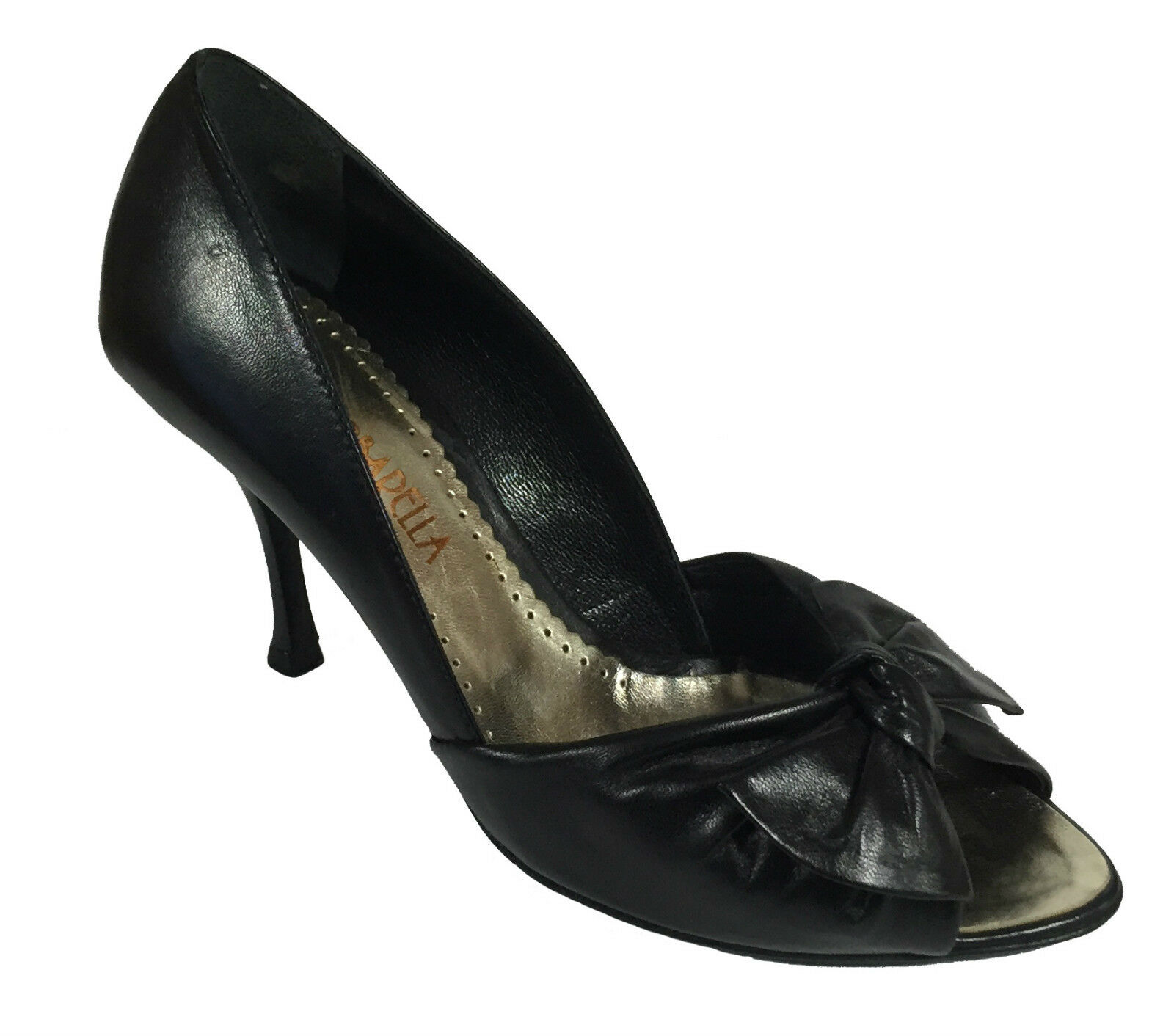 BARBARELLA Court Court Court shoes bluent women's leather black heeled tall and bow 85a523