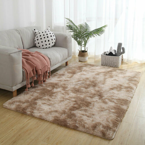 Ins Long Plush Gradient Carpet Tie Dyeing Water Absorption Rugs For Living Room