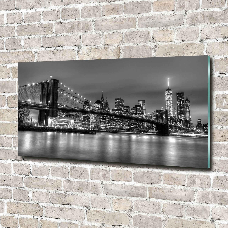 Glas-Bild Wandbilder Druck auf Glas 140x70 Sehenswürdigkeiten Brooklyn-Brücke