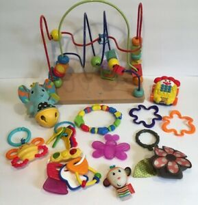 Lot-Of-12-Infant-Daycare-Baby-Toys-Infantino-Fisher-Price-Teething-Bead-Roller