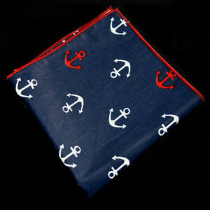 Blue-White-Anchor-Pattern-Pocket-Square-Cotton-Mens-Handkerchiefs-Hanky-Handmade