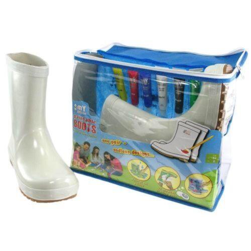 NWT My Desgin Paintable Rain Boots plain white paint kit plus Boot /& eraser NEW