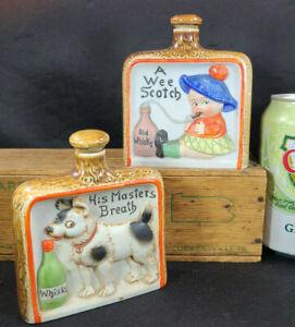 SCHAFER-amp-VATER-Vintage-NIPPER-FLASK-Lot-2-Wee-SCOTCH-amp-Masters-Breath-3341-44