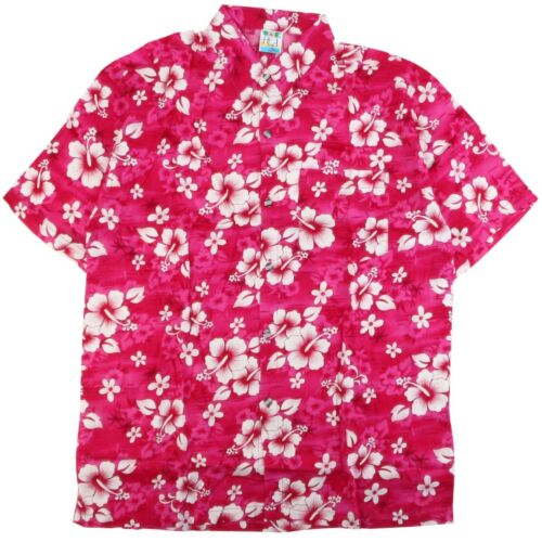FLORAL HAWAIIAN SHIRT Pink Classic Flower Stag Beach Aloha Party Summer Holiday
