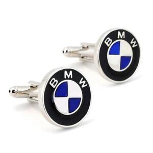 BMW-CUFFLINKS-Auto-Car-Logo-Silver-Metallic-NEW-w-GIFT-BAG-Emblem-Groom-Wedding
