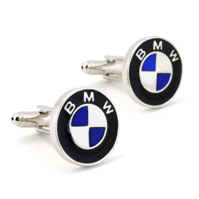 BMW CUFFLINKS Auto Car Logo Silver Metallic NEW w GIFT BAG Emblem Groom Wedding