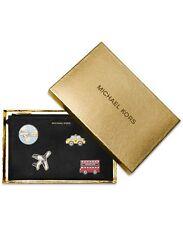 Michael Kors Sticker Bar MK XL Zip Clutch Set Black Saffiano Leather 34h6gb3w9l