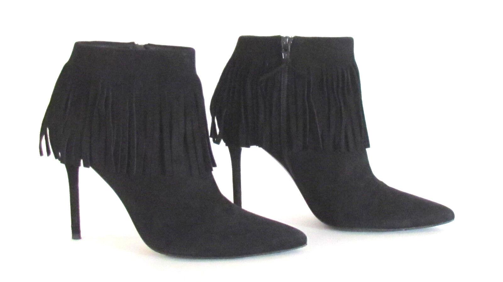 Stuart Weitzman Women's Fringe Black Suede Pointy Toe High Heel Ankle Boots  9.M