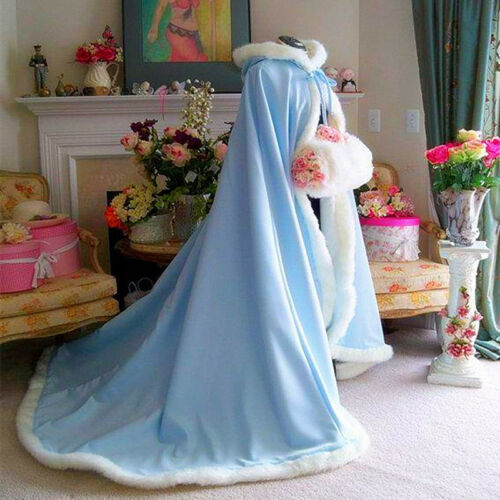 NEW Bridal Winter Wedding Cloak Cape Hooded with Fur Trim Long Bridal Winter