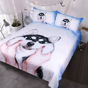 Husky Puppy Bedding Set Queen King Watercolor Duvet Cover With