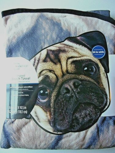 Dog Shaped Microfiber Beach Bath Pool Nap Towel Pug Face NEW 64x46 Round