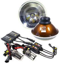 "H6024 Pair 7"" Head Light Housing Round Glass Conversion Lamp + 6K German HID Kit"