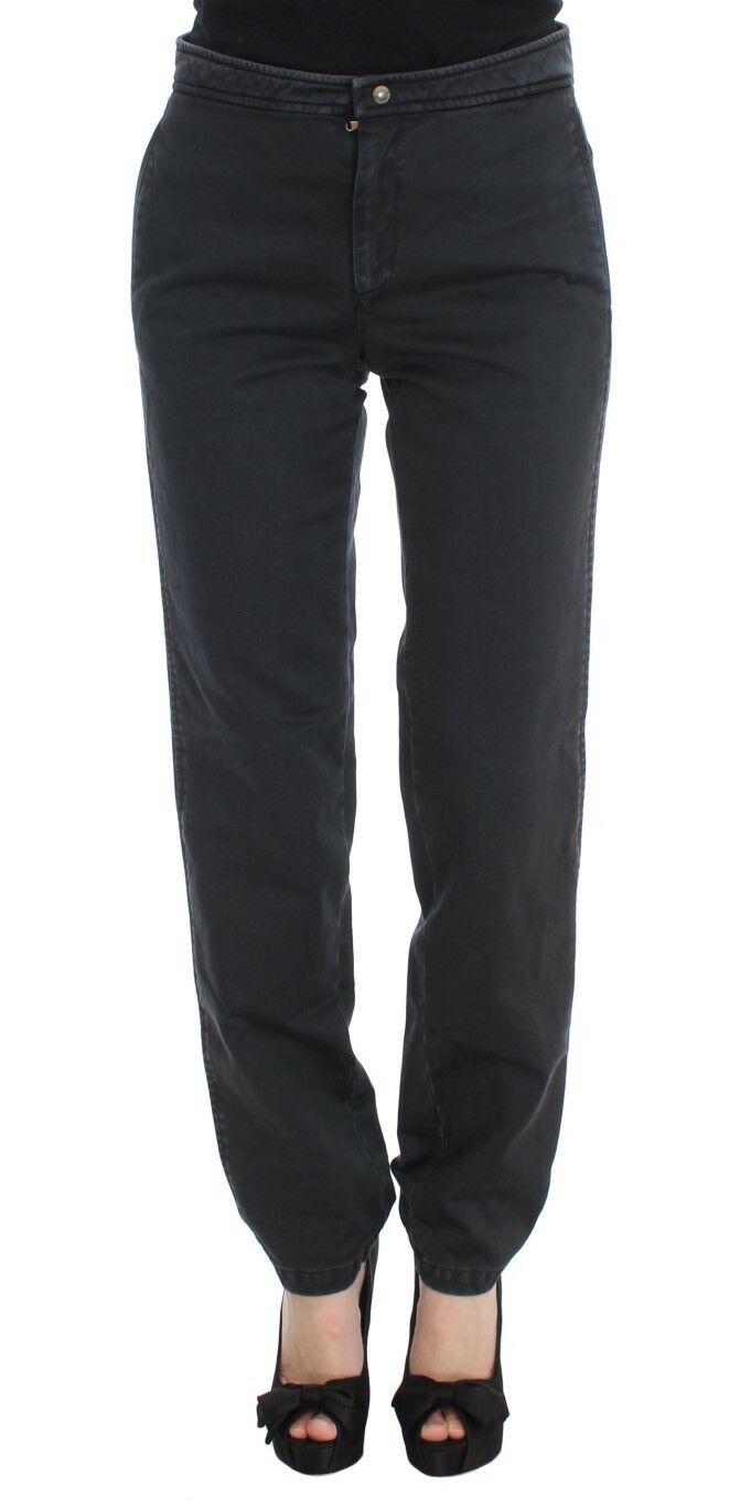 NEW ERMANNO SCERVINO Pants bluee Cotton Straight Fit Casual s. IT42 US8 M