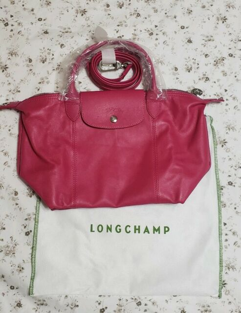 Longchamp Le Pliage Cuir Small Cyclamen Leather Top Handle Strap Tote