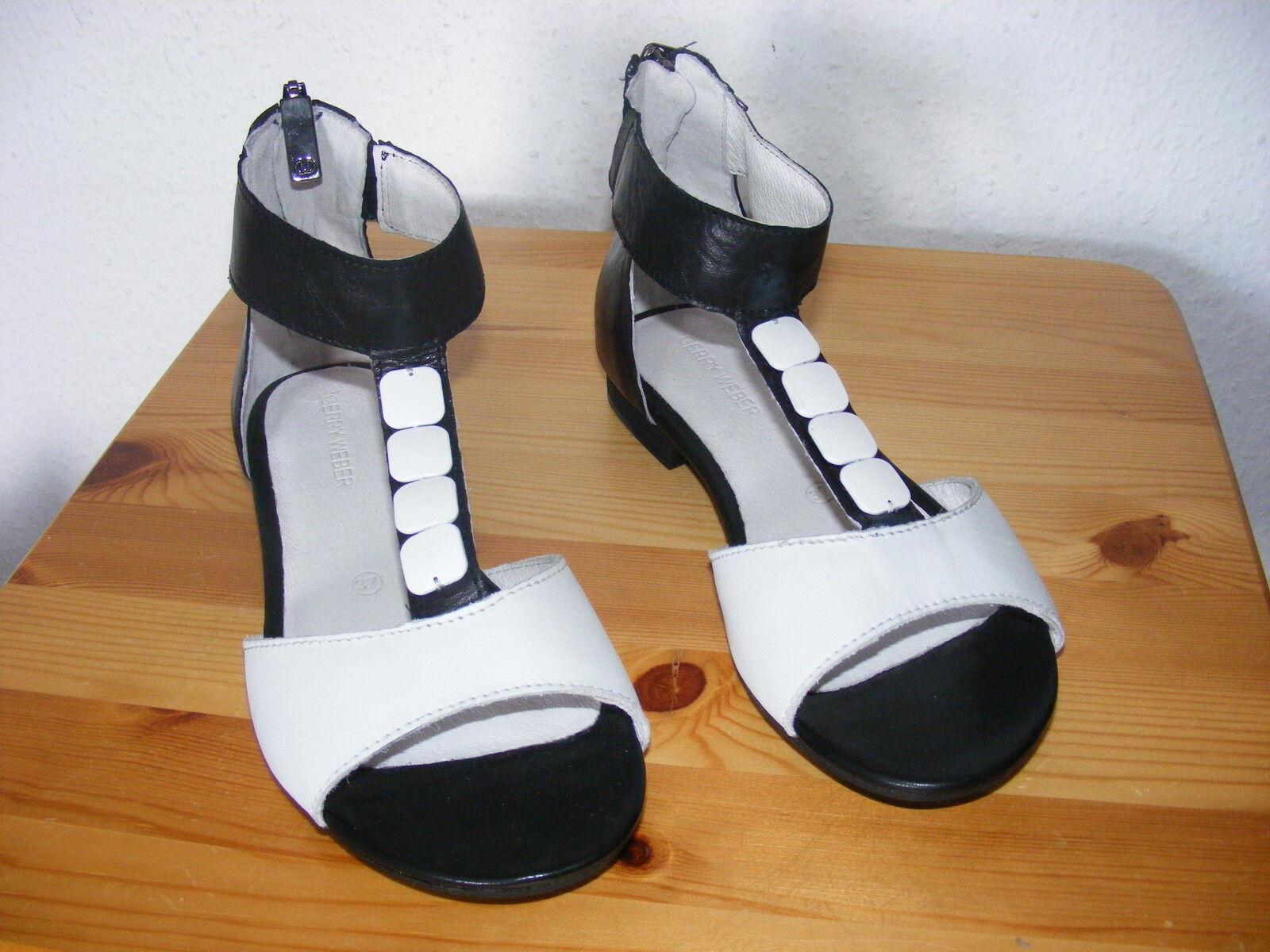 TG. 37 Gerry Weber NUOVO sandali caviglia cinturino pelle, alta alla caviglia sandali Nero + Bianco Elegante 2365de