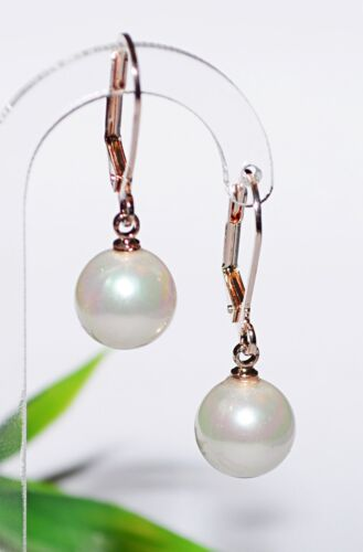 Perlenohrringe 10mm Muschelkernperle Perle Brisur Ohrhänger Ohrring rose´gold