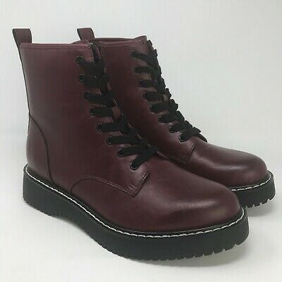Combat Boots Burgundy Black KURR01J1   eBay