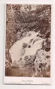Vintage-CDV-Waterfall-Linn-of-Muick-G-W-Wilson-Photo-Aberdeen