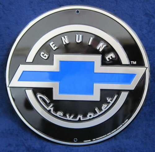 Genuine Chevrolet Chevy Bow Tie Embossed Tin Metal Sign Garage Shop Man Cave