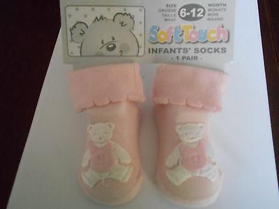 Rosa Linda Infantil Calcetines Con Apliques De Oso De Peluche por tacto suave 6 - 12 mths