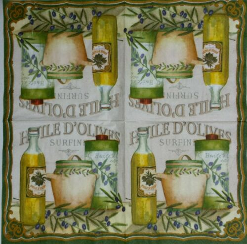 HUILE D/' OLIVES 2 individual paper napkins for decoupage lunch size 3-ply
