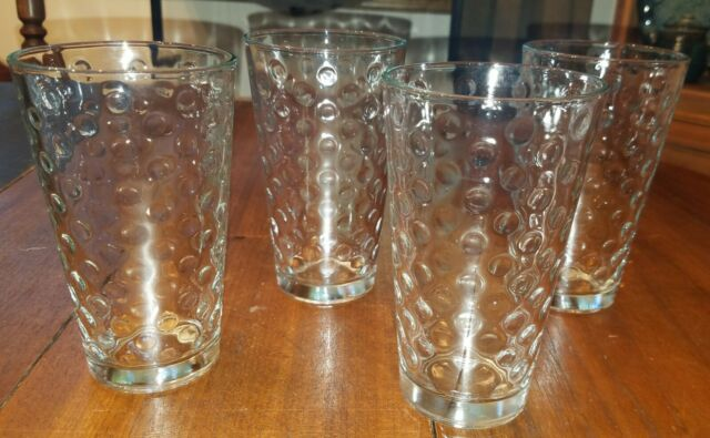 Vintage Barware Set of 4 Clear Glass Hobnail Textured Tumbler Cocktail Glasses