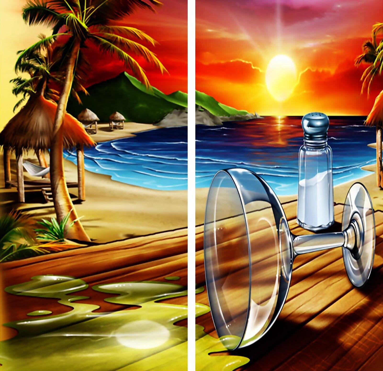 Beach Margarita & Salt Sunset Cornhole Game Board 3M Vinyl Decal Wrap Set