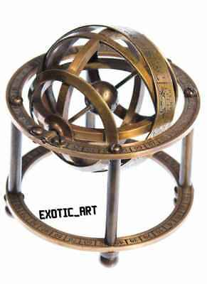 Nautical Collectible Home Decor Table Top 5 Zodiac Sphere Globe Solid Brass Armillary Sphere