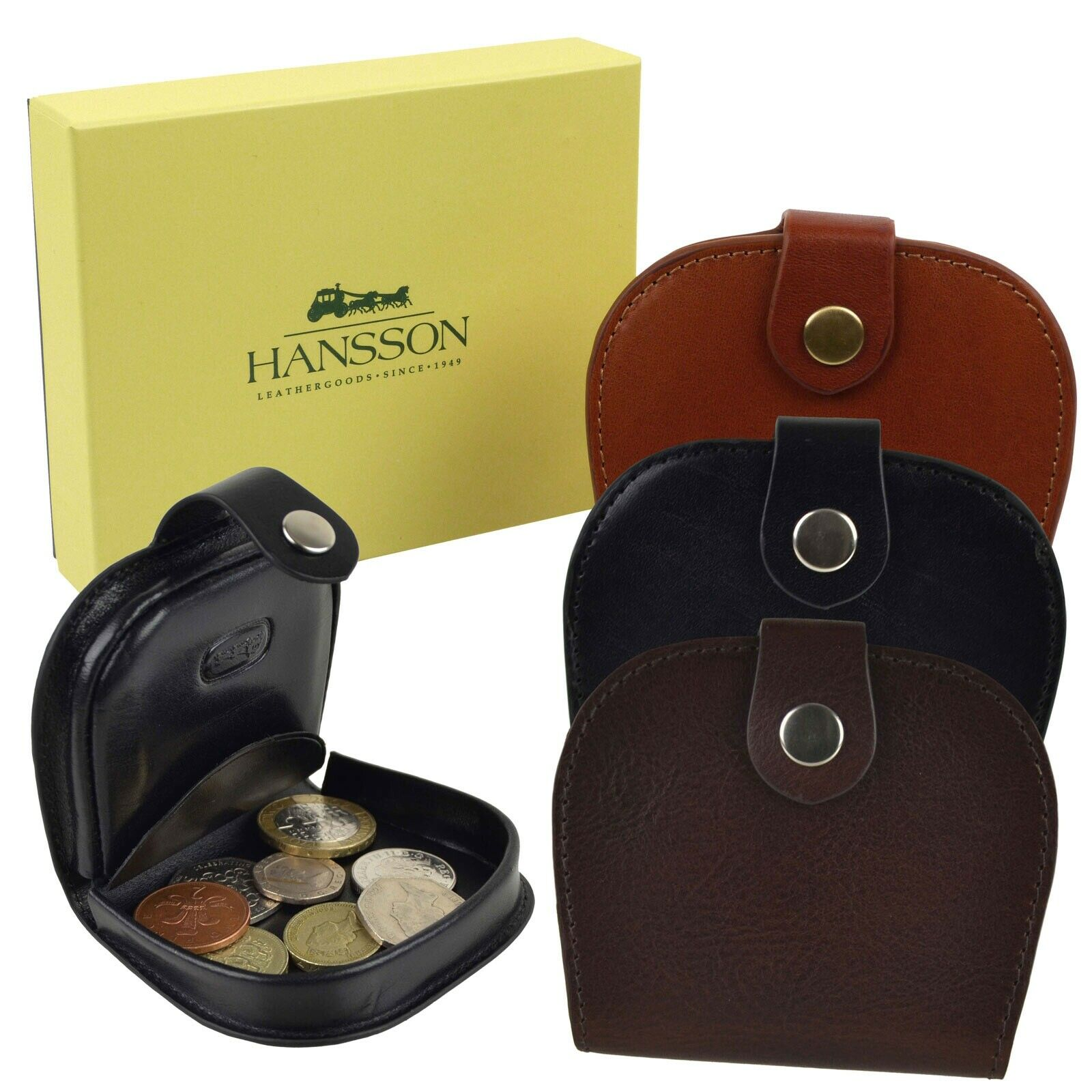 Mens Italian Leather Coin Tray Change Wallet/Purse by Hansson Pocket Gift Boxed