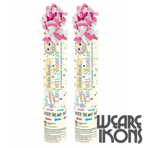 2x Baby Shower Gender Reveal Confetti Shooter Cannon Pink Blue Popper Party Gift