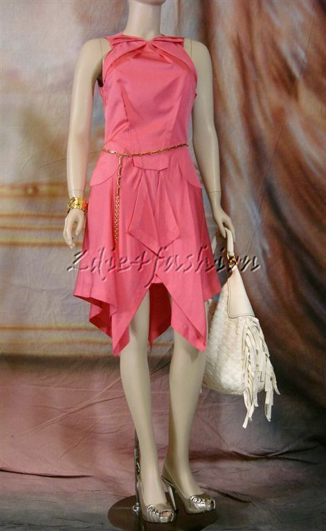 3210 New RM Roland Mouret Sexy Coral Pink Satin Silk Mermaid Flare Dress 10 42