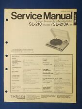 TECHNICS SL-210 A TURNTABLE SERVICE MANUAL ORIGINAL FACTORY ISSUE THE REAL THING