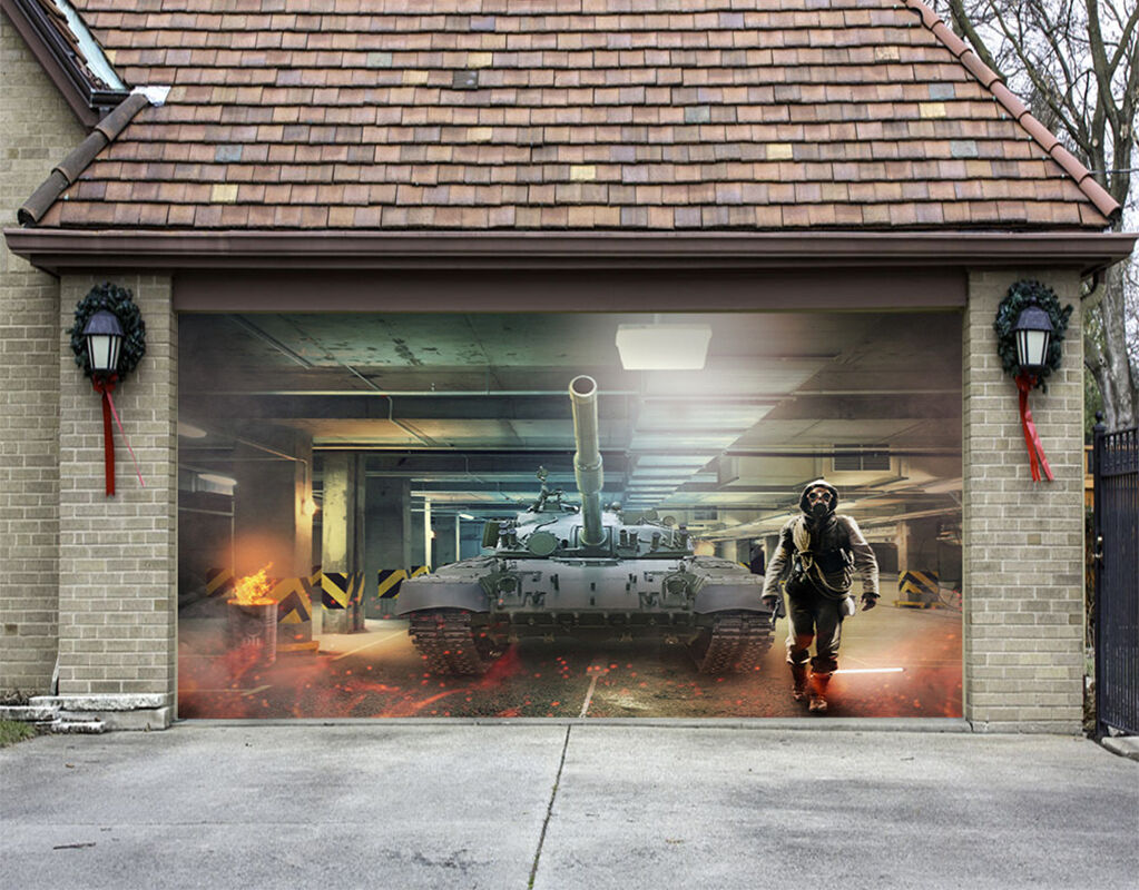 3D Gran Serbatoi 3 Garage Porta Stampe Parete Decorazione Murale AJ WALLPAPER IT
