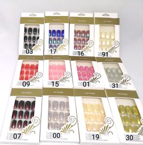 12 PZ Unghie Finte Adesive Quadrate Tonde Nail Art Tips Per Mani Manicure