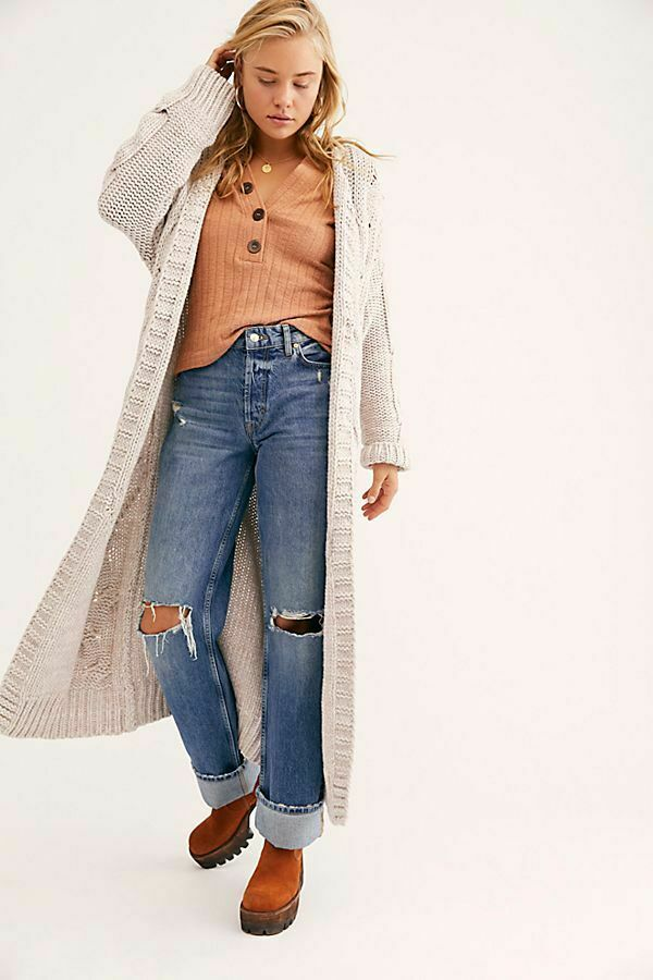 Free People NWT Super Chunky Knit Maxi Cardigan Sweater Painted Weiß Cardi