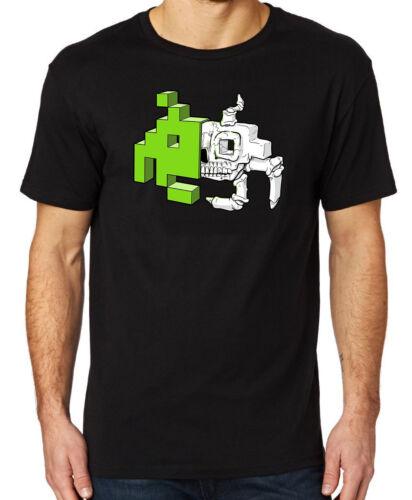 Retro Gaming Space Invader Skull /& Bones Men/'s T-shirt Gift