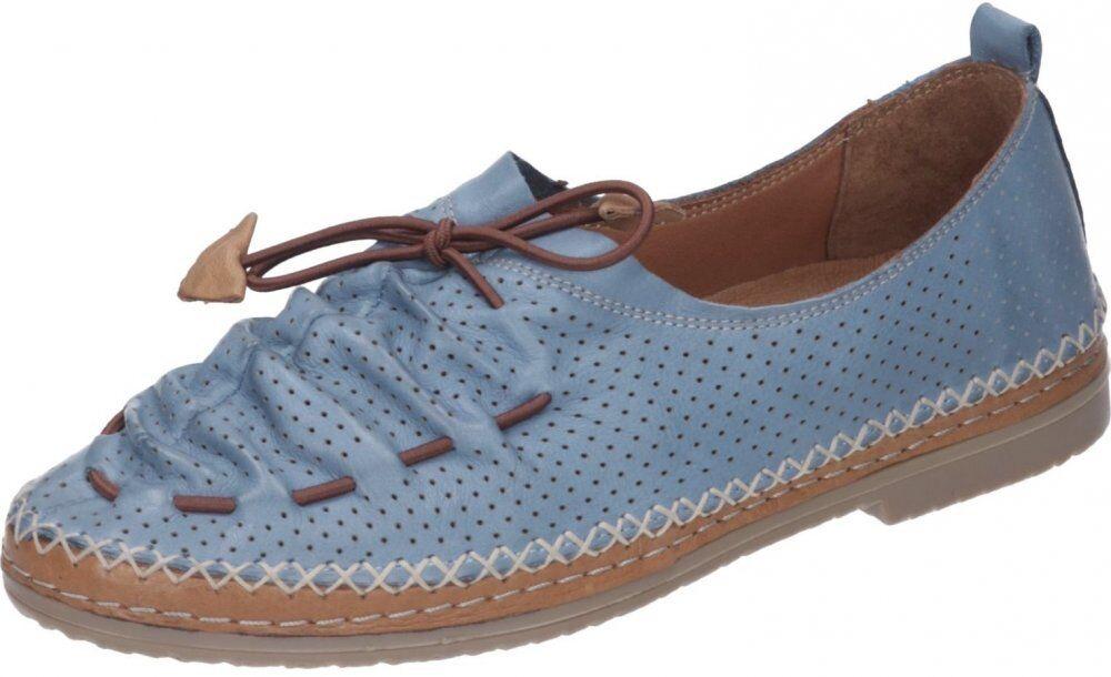 Manitu Damen Mokassins Blau Schuhe Leder 840790-51